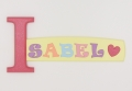 painted wooden name sign for Isabel