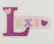 painted wooden name sign for Lexi
