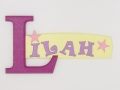 painted wooden name sign for Lilah