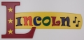 painted wooden name sign for Lincoln