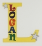 painted wooden name sign for Logan