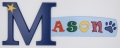 painted wooden name sign for Mason