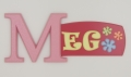 painted wooden name sign for Meg