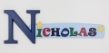 painted wooden name sign for Nicholas