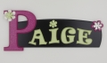 painted wooden name sign for Paige