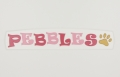 painted wooden name sign for Pebbles