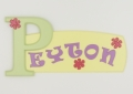 painted wooden name sign for Peyton
