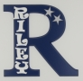 painted wooden name sign for Riley
