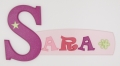 painted wooden name sign for Sara