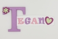 painted wooden name sign for Tegan