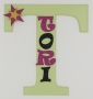 painted wooden name sign for Tori