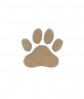 unpainted wooden paw print