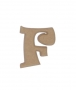 unpainted wooden letter F