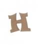 unpainted wooden letter H