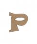 unpainted wooden letter P